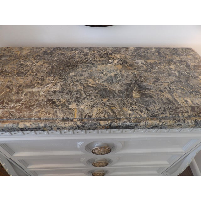 Contemporary Faux Marble Topped Sideboard With Ornate Iron Base & Greek Key Design For Sale - Image 3 of 8