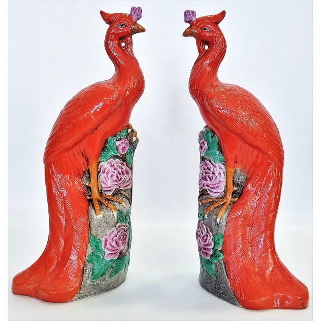 Rare Orange Large Famille Rose Phoenix Sculpture Figurines -Pair- Feng Shui - Chinese Chinoiserie Palm Beach Boho Chic Tropical Coastal Botanical For Sale - Image 13 of 13
