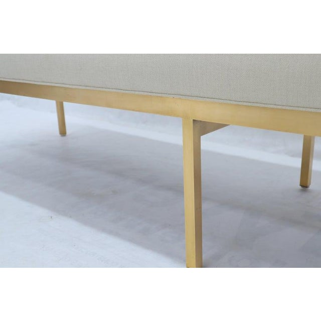 Extra Long Solid Brass Base Frame Spring Loaded New Upholstery Bench Daybed For Sale - Image 11 of 13