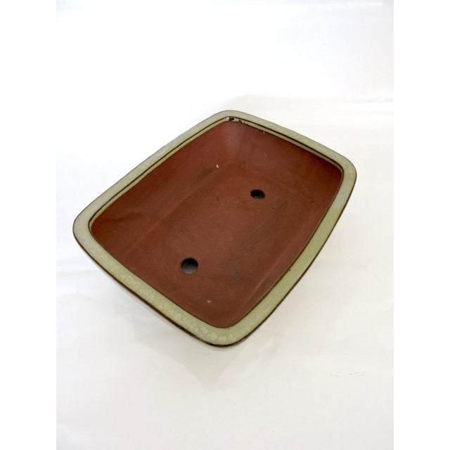 20th. Century Olive Green Drip Glaze Japanese Bonsai Planter or Garden Bowl For Sale - Image 4 of 6