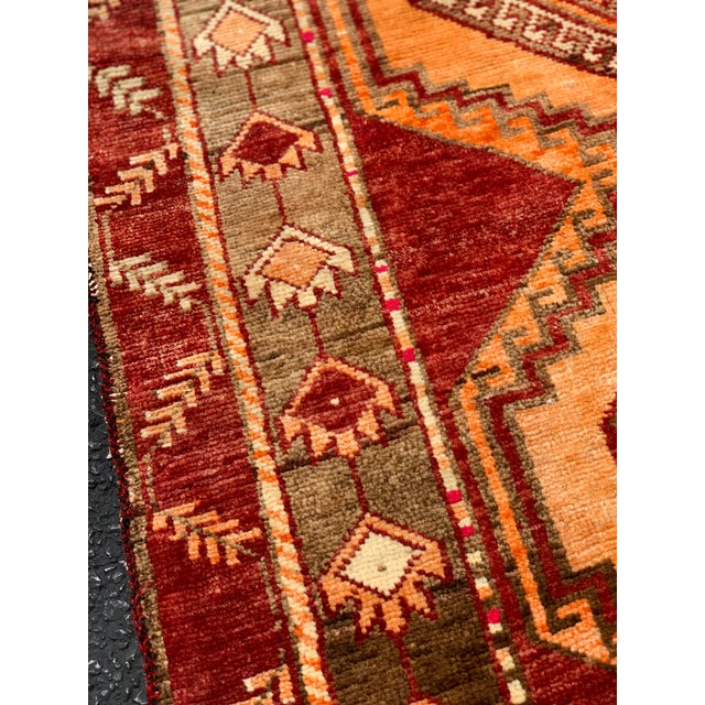 "Red 1950's Vintage Turkish Anatolian Runner Rug - 3'2""x11'2"" For Sale - Image 8 of 13"