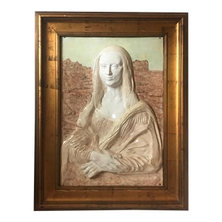 Vintage Ceramic High Relief Portrait Mona Lisa For Sale