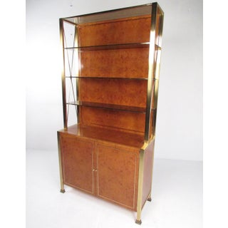 Vintage Modern Burlwood Display Cabinet After Willy Rizzo Preview