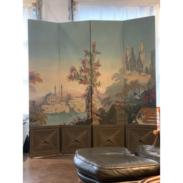 Vintage Maitland Smith Hand Painted 4 Panel Folding Screen For Sale - Image 12 of 13
