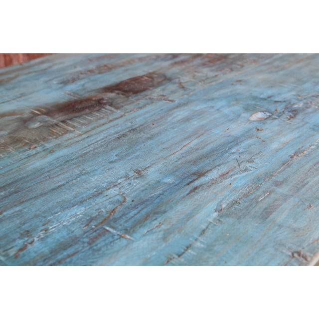 Late 19th Century Colonial Blue Farmhouse Kitchen Table For Sale - Image 5 of 7