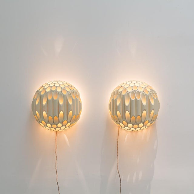 1970s An Exceptional Pair of Spherical Wall Sconce by Rougier Canada 1970s For Sale - Image 5 of 8