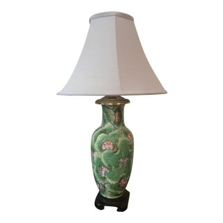 1920s Chinoiserie Hand Painted Green Vase Table Lamp