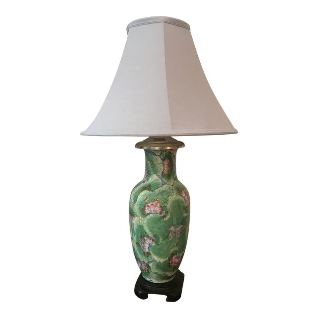 1920s Chinoiserie Hand Painted Green Vase Table Lamp For Sale