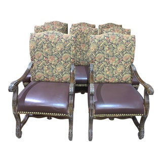 Paisley Fabric & Leather Dining Chairs - Set of 8 For Sale