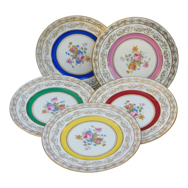 Vintage Colorful Porcelain Plates- S/5 For Sale