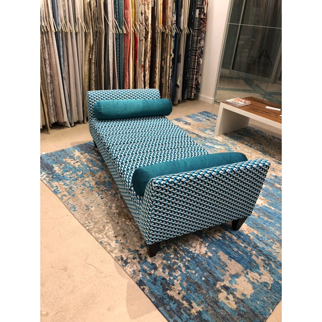 Turquoise Contemporary Teal Patterned Daybed For Sale - Image 8 of 10
