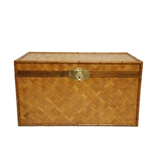 Vintage Rattan and Faux Bamboo Trunk