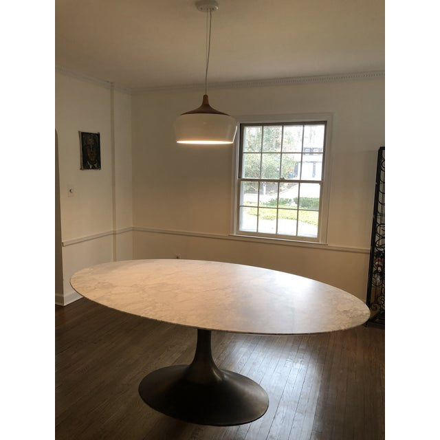 Contemporary Restoration Hardware Aero Marble Oval Dining Table