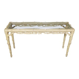 20th Century Hollywood Regency Ivory Painted Faux Bois Sofa Console Table For Sale