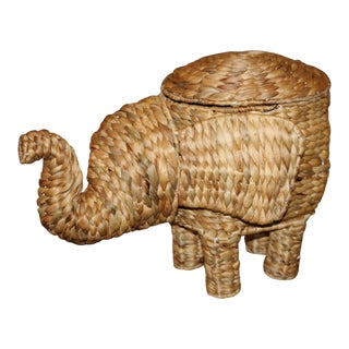 Seagrass Woven Elephant Basket - Boho Chic Chinoiserie