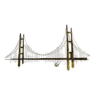 1970s Curtis Jere Brutalist Metal Bridge Wall Sculpture Signed