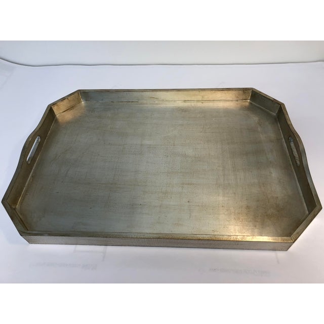 Silver leafed large Italian tray with handles, tray is made out of wood and sealed. Made in the 2000s