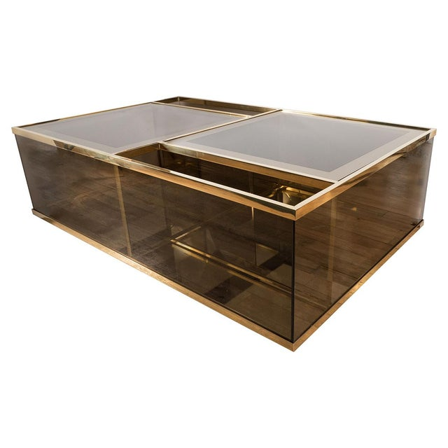 1960s Rectangular Brass and Smoked Glass Coffee Table For Sale - Image 5 of 5