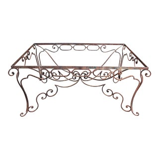 1980s Italian Wrought Iron Dining Table With Glass Top For Sale