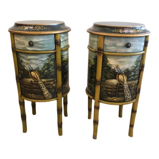 Pair of Painted Round Side Table Cabinets For Sale