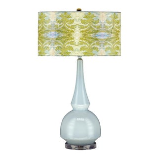 Pastel Blue Scottish Thistle Lamp with Shade For Sale
