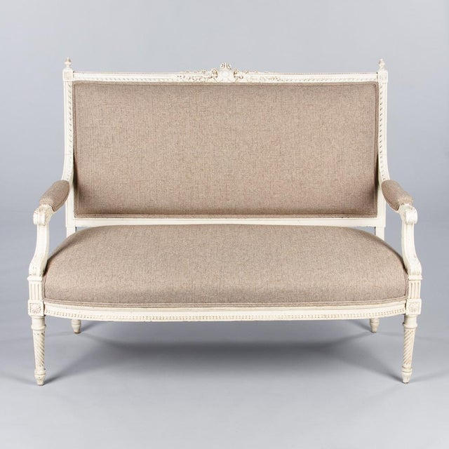 Early 1900s French Louis XVI Style Painted Settee - Image 7 of 10