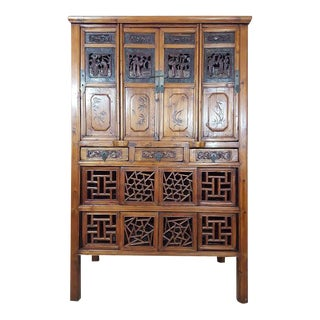 Antique Chinese Kitchen Cabinet With Qing-Style Carving and Fretwork For Sale