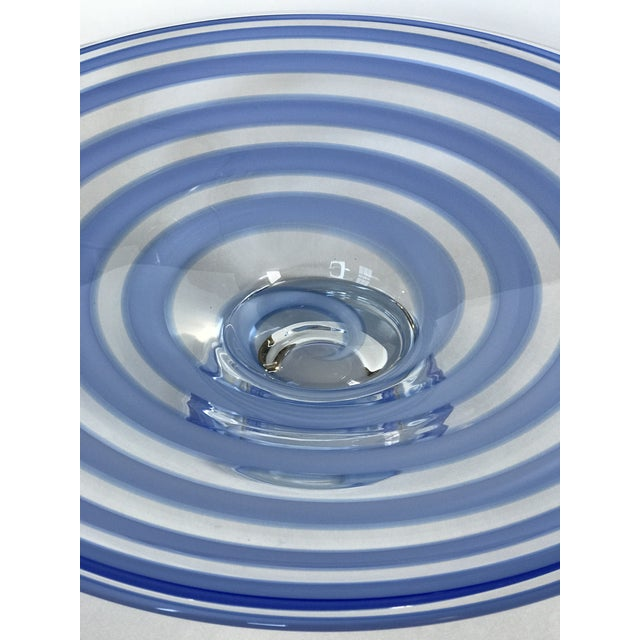 Large Blue Swirl Art Glass Footed Centerpiece Bowl For Sale In Chicago - Image 6 of 9