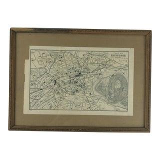 1911 Map of Edinburgh in Vintage Wooden Frame For Sale