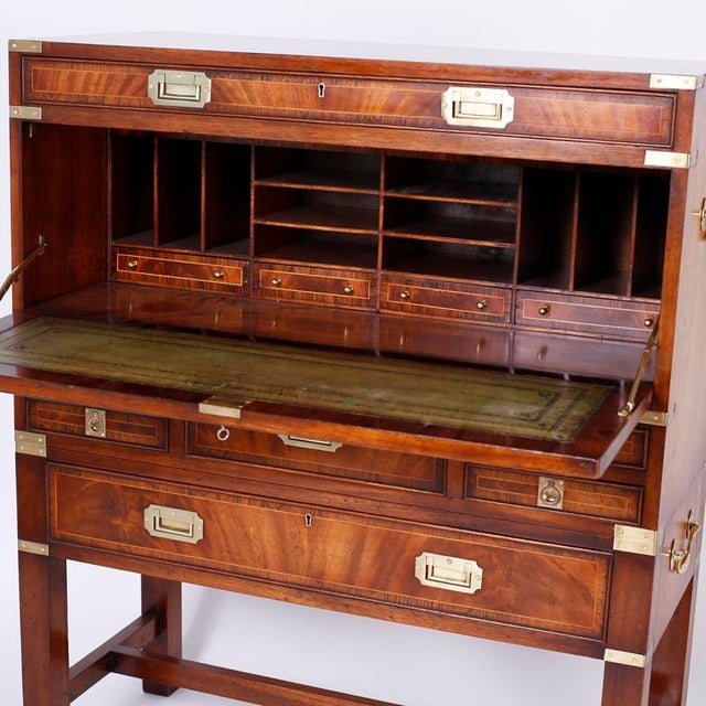 Campaign English Campaign Secretary Chest on Stand For Sale - Image 3 of 10