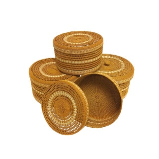 Hand Woven Lidded Nesting Storage Baskets - Set of 4 For Sale
