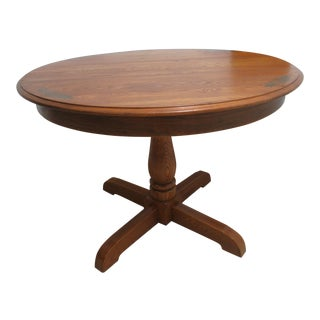 Hitchcock Oak Round Dining Pedestal Table
