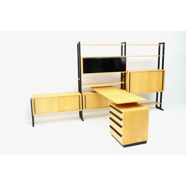 Very rare office combination with a freestanding shelf and a desk by the architect Alfred Altherr (1911-1972) for Freba...