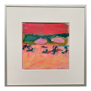 """""""Whispering Waves (Hot Pink)"""" Contemporary Abstract Acrylic Painting by Michelle Heimann, Framed"""