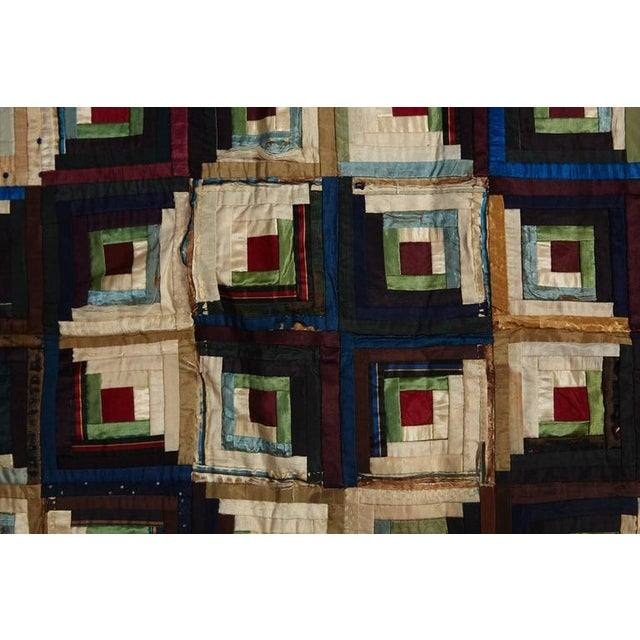 Antique Log Cabin Barn Raising Pieced Silk Quilt For Sale - Image 4 of 8