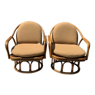 Vintage Cal-Asia Bamboo and Rattan Swivel Lounge Chairs - a Pair For Sale