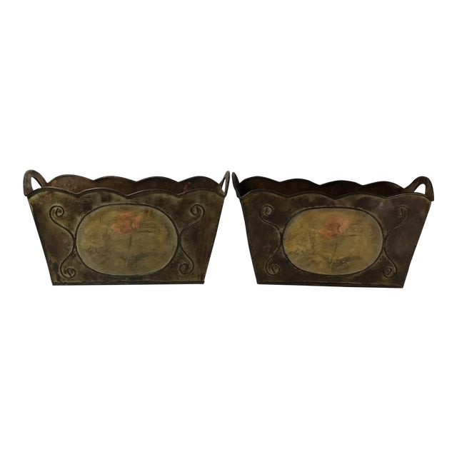 Vintage French Country Metal Jardinières - A Pair For Sale