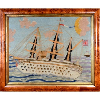 Folk Art Sailor's Large Woolwork Woolie of the Royal Navy Ship h.m.s. Crocodile For Sale