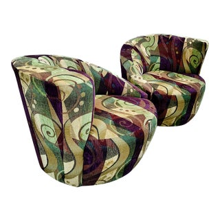 1980's Postmodern Swivel Loung Chairs Attributed to Vladimir Kagan For Sale