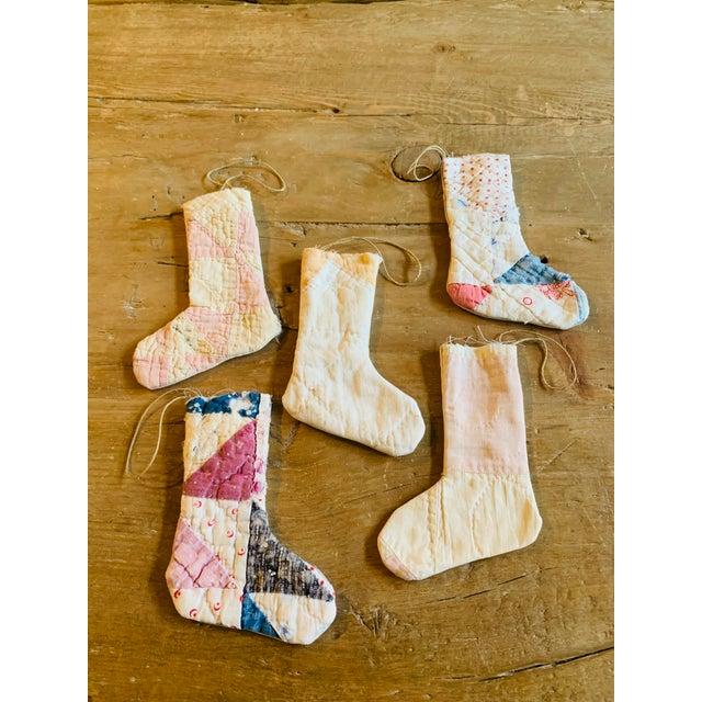 Vintage Textile Handmade Stocking Ornaments - Set of 5 For Sale - Image 4 of 6