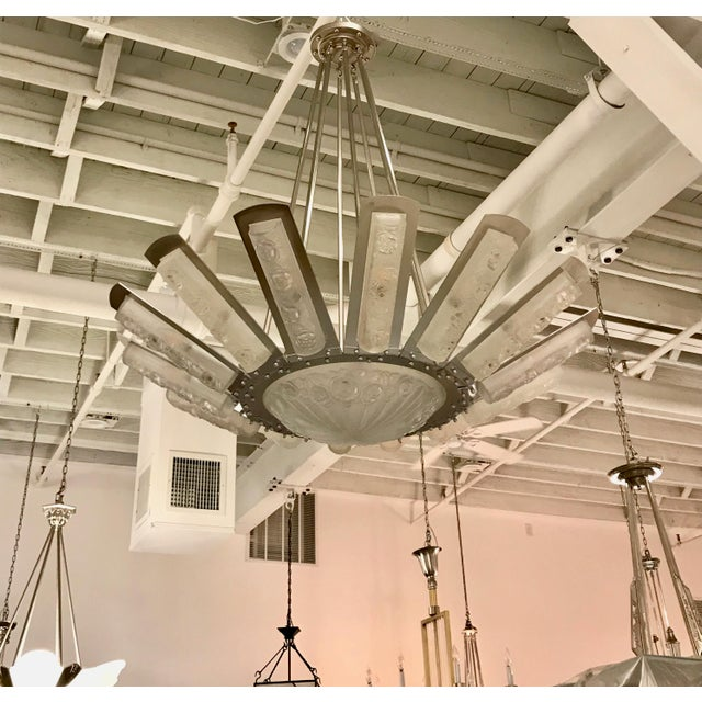 Art Deco French Art Deco Starburst Chandelier by Degué For Sale - Image 3 of 13