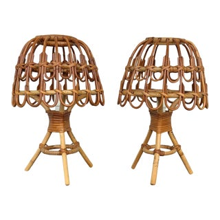 1960s Franco Albini Style Bamboo and Wicker Table Lamp, Italy - a Pair For Sale