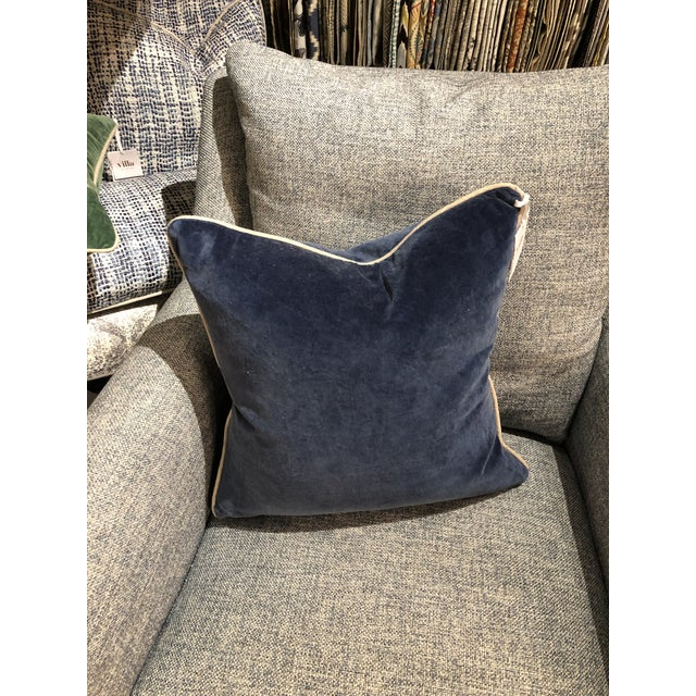 Kenneth Ludwig Chicago Contemporary Classic Home Blue Velvet Pillow For Sale - Image 4 of 6