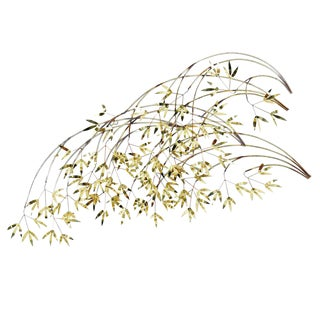 Curtis Jere Signed Brass Bamboo Branch Brass Wall Sculpture For Sale
