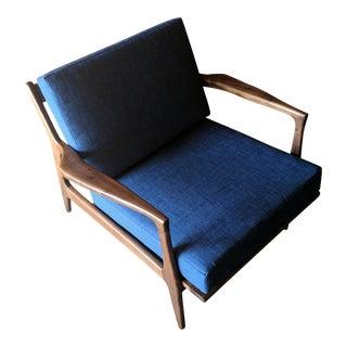 Mid Century Danish Style Walnut Lounge Chair For Sale