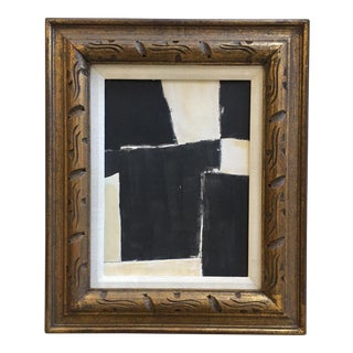 Abstract Painting Collage Black White Beige For Sale