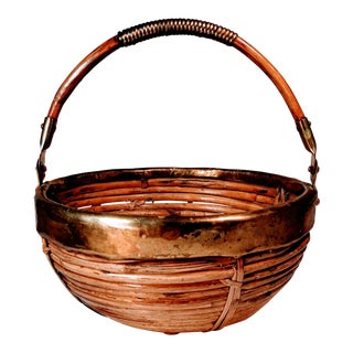 Vintage Mid-Century Reed & Brass Basket For Sale
