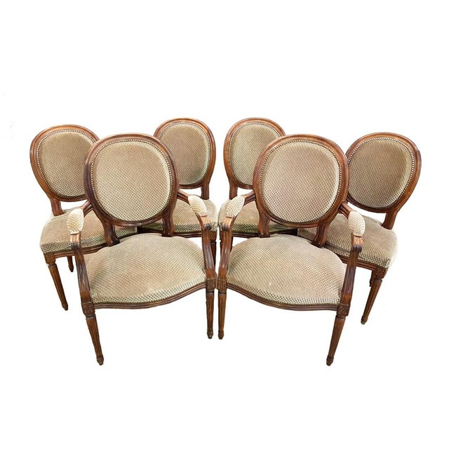 Set of 6 Louis XVI French Medallion Beige Velvet Dining Chairs Two Armchairs Four Side Chairs For Sale - Image 13 of 13