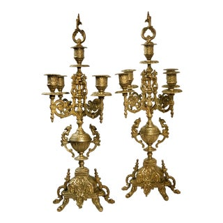 "Vintage Italian Brevettato ""Style"" Brass / Bronze Vintage Baroque Candelabra 5 Arm - a Pair For Sale"