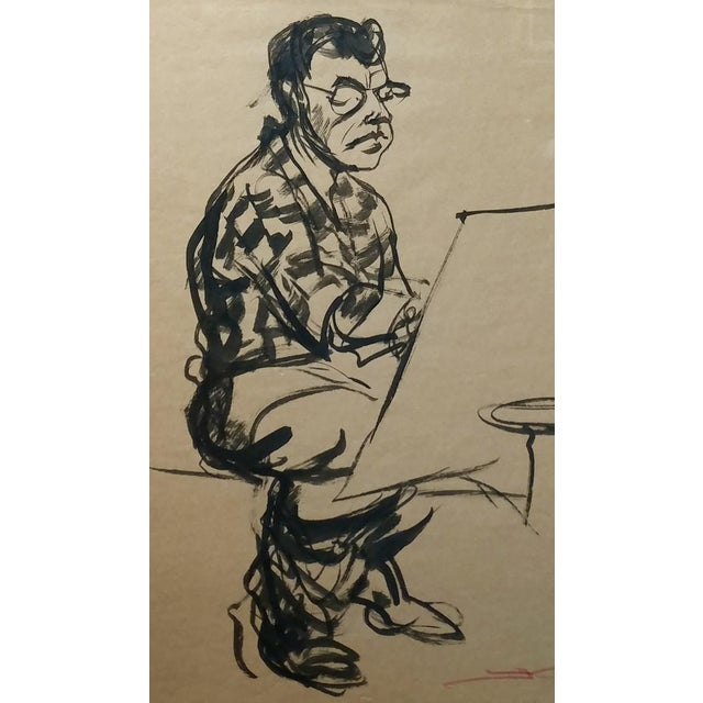"""Abstract Emil Kosa Jr """"Self-Portrait"""" Original 1950s Ink on Paper Painting For Sale - Image 3 of 7"""